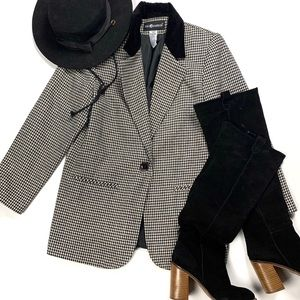 Vintage | 8 | Wool Blend Houndstooth Blazer Jacket